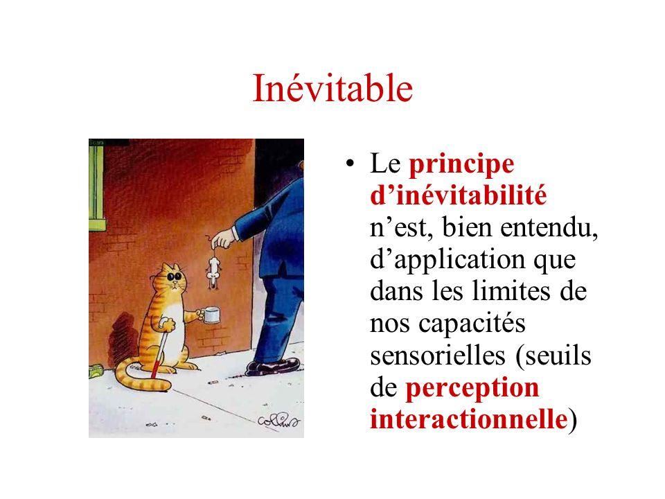 Inévitable Le principe dinévitabilité nest, bien entendu, dapplication que dans les limites de nos capacités sensorielles (seuils de perception intera