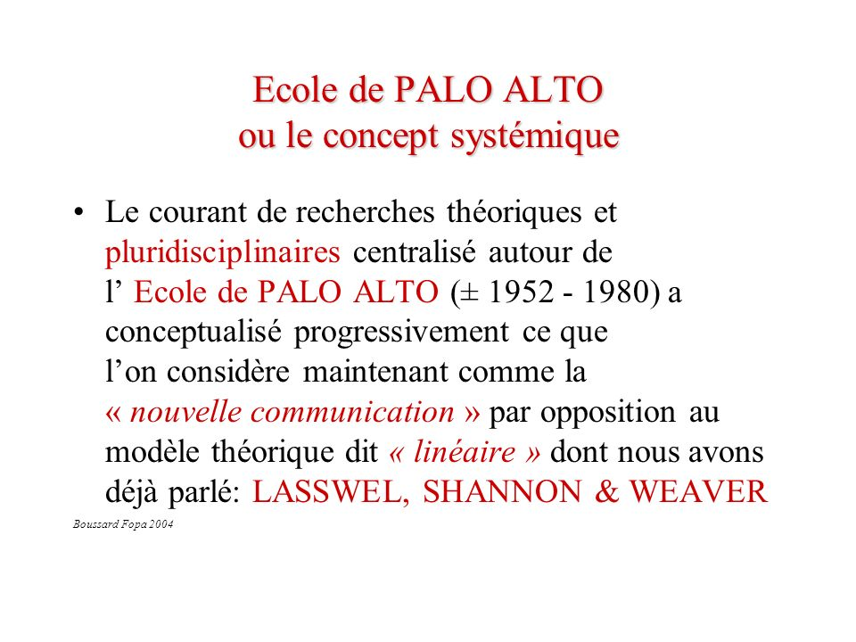 Ecole de PALO ALTO ou le concept systémique Le courant de recherches théoriques et pluridisciplinaires centralisé autour de l Ecole de PALO ALTO (± 19