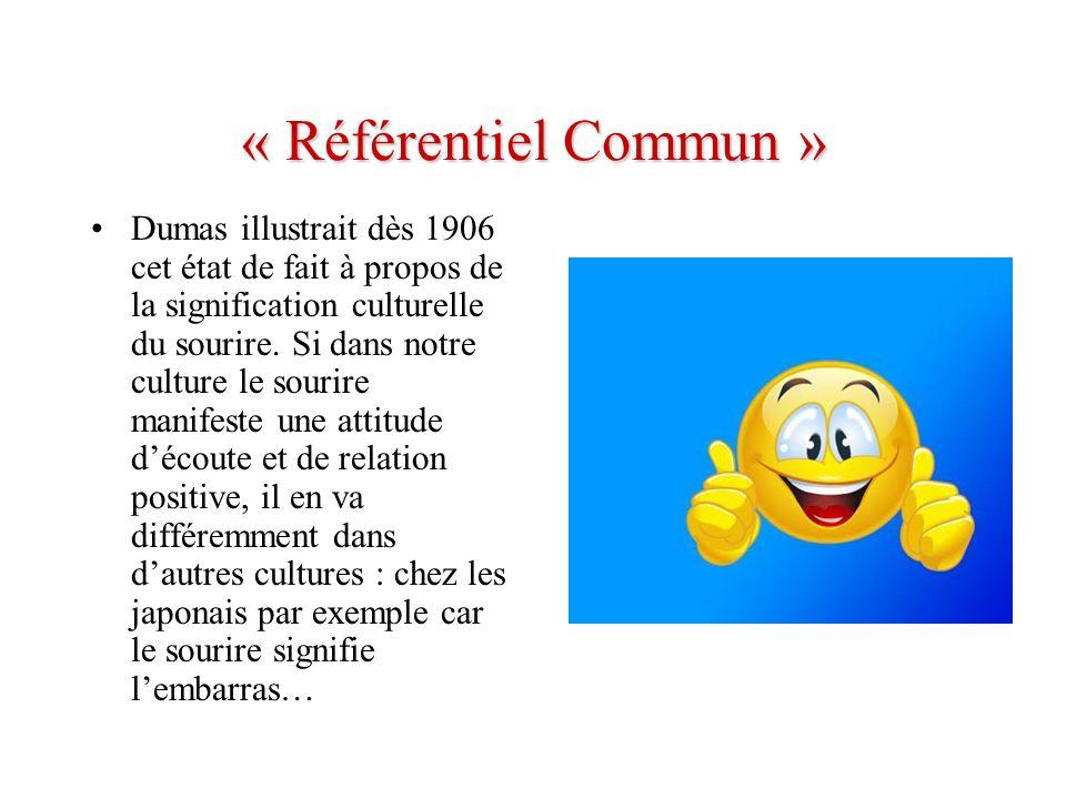 « Référentiel Commun » Dumas illustrait dès 1906 cet état de fait à propos de la signification culturelle du sourire. Si dans notre culture le sourire