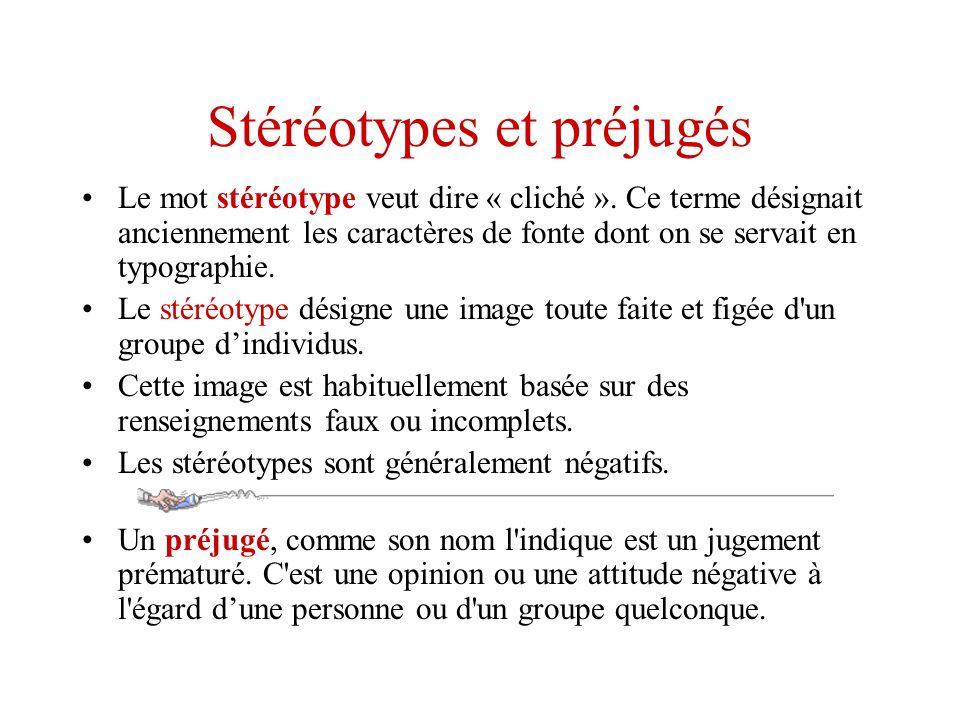 Stéréotypes et préjugés Le mot stéréotype veut dire « cliché ». Ce terme désignait anciennement les caractères de fonte dont on se servait en typograp