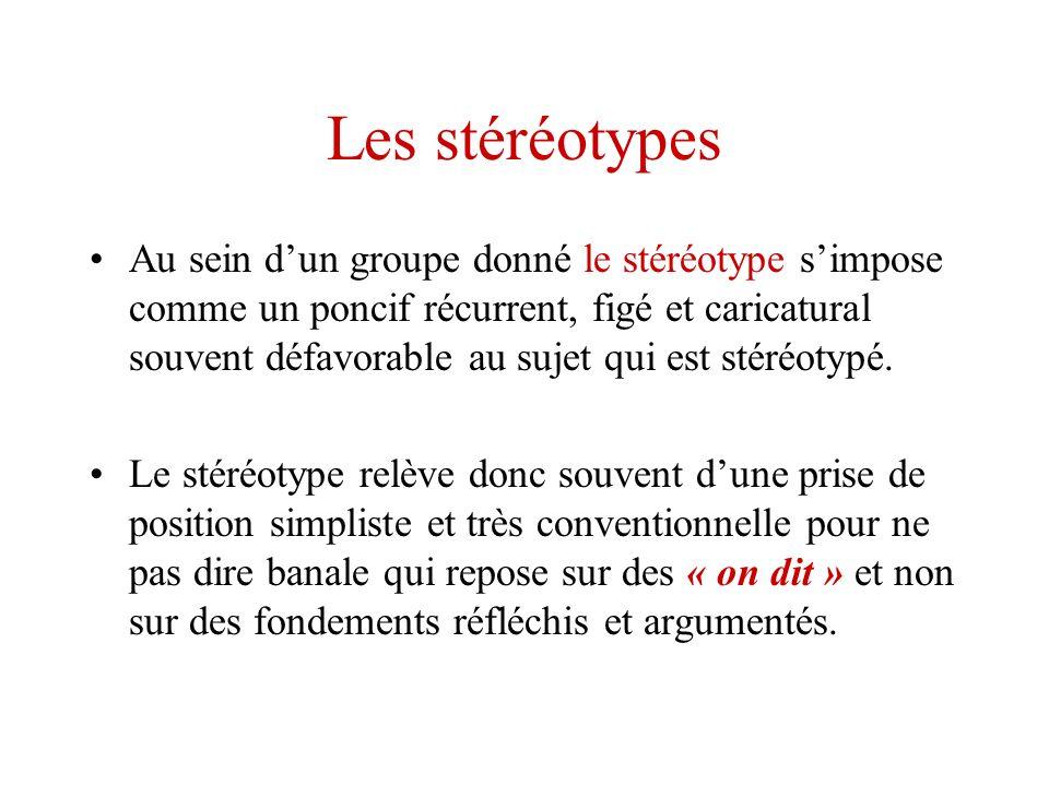 Les stéréotypes Au sein dun groupe donné le stéréotype simpose comme un poncif récurrent, figé et caricatural souvent défavorable au sujet qui est sté