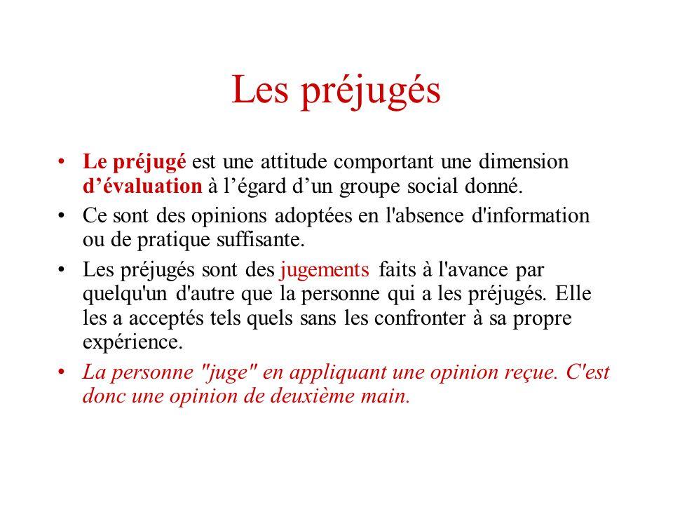 Les préjugés Le préjugé est une attitude comportant une dimension dévaluation à légard dun groupe social donné. Ce sont des opinions adoptées en l'abs