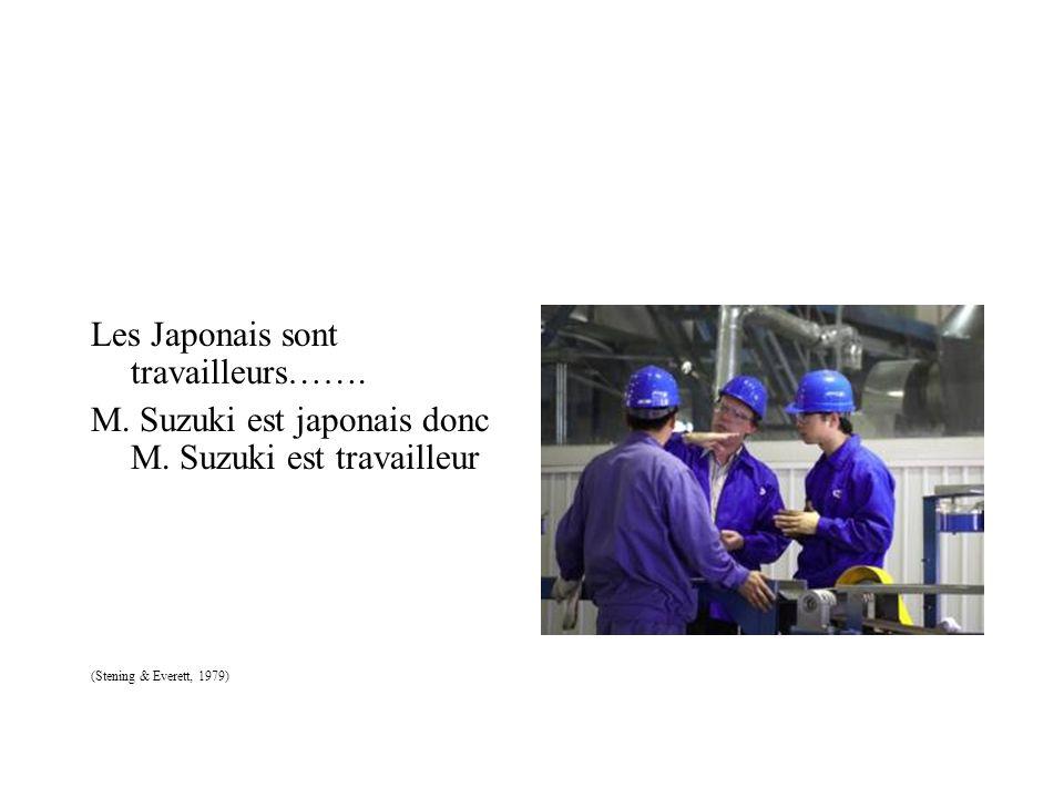 Les Japonais sont travailleurs……. M. Suzuki est japonais donc M. Suzuki est travailleur (Stening & Everett, 1979)