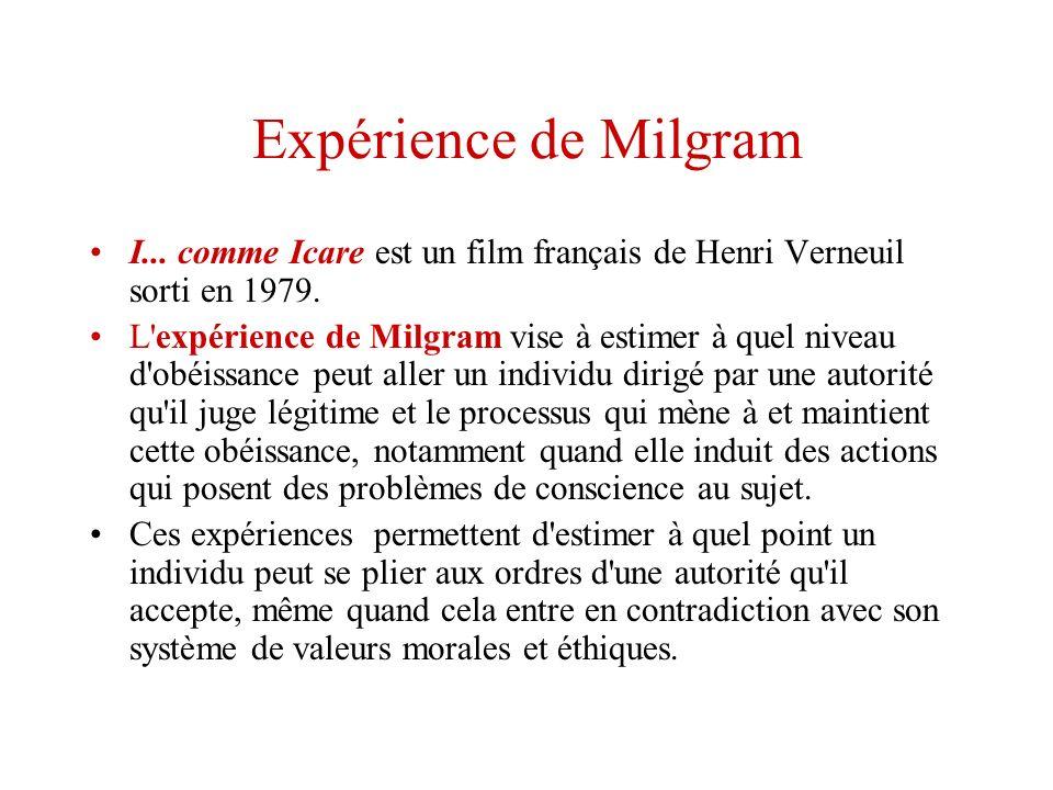 Expérience de Milgram I... comme Icare est un film français de Henri Verneuil sorti en 1979. L'expérience de Milgram vise à estimer à quel niveau d'ob