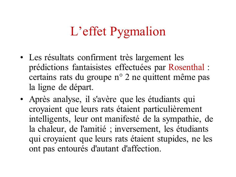 Leffet Pygmalion Les résultats confirment très largement les prédictions fantaisistes effectuées par Rosenthal : certains rats du groupe n° 2 ne quitt