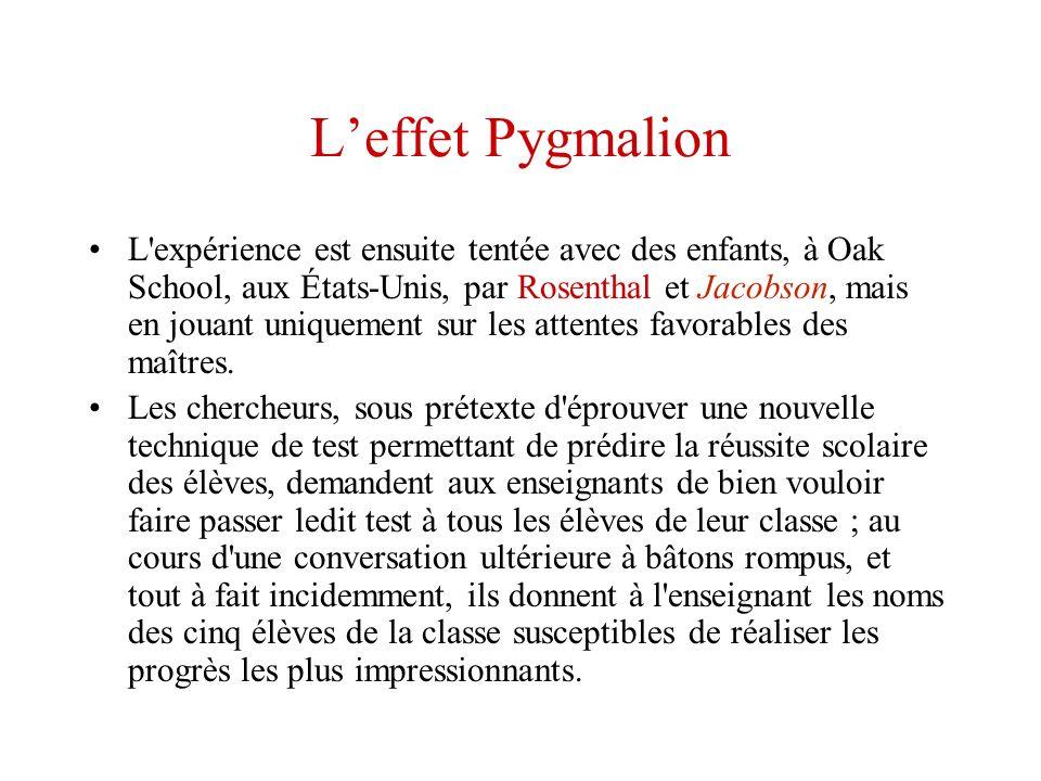 Leffet Pygmalion L'expérience est ensuite tentée avec des enfants, à Oak School, aux États-Unis, par Rosenthal et Jacobson, mais en jouant uniquement