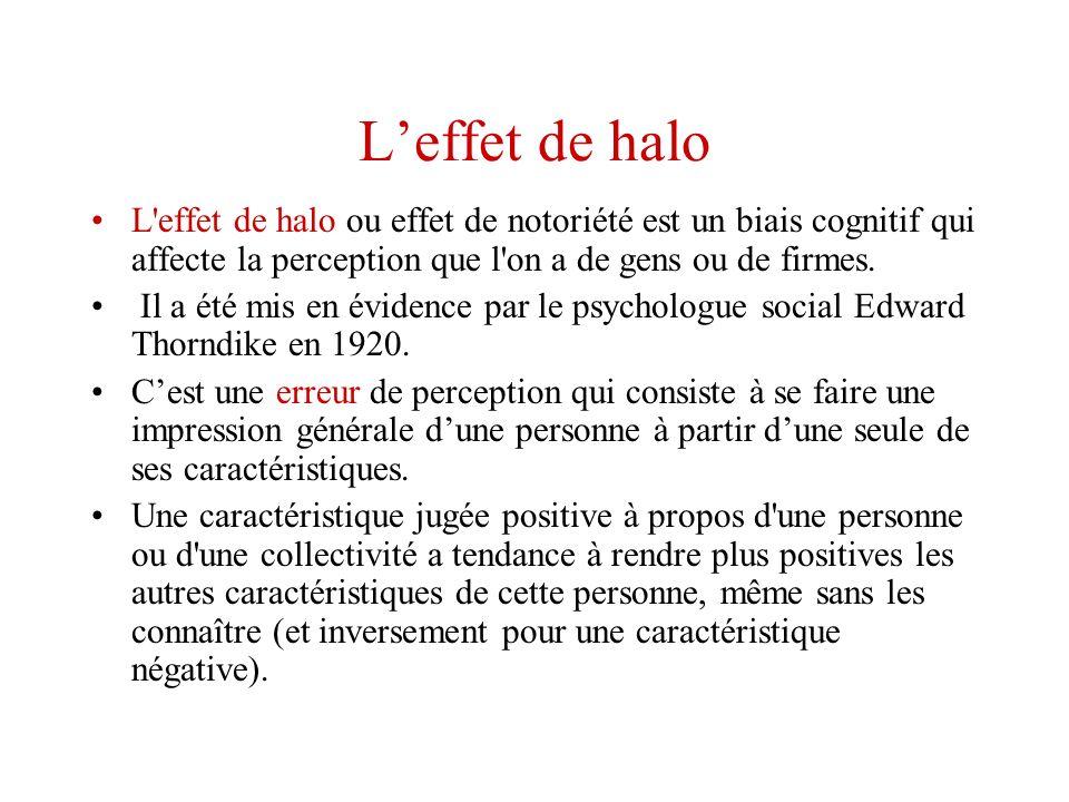 Leffet de halo L'effet de halo ou effet de notoriété est un biais cognitif qui affecte la perception que l'on a de gens ou de firmes. Il a été mis en