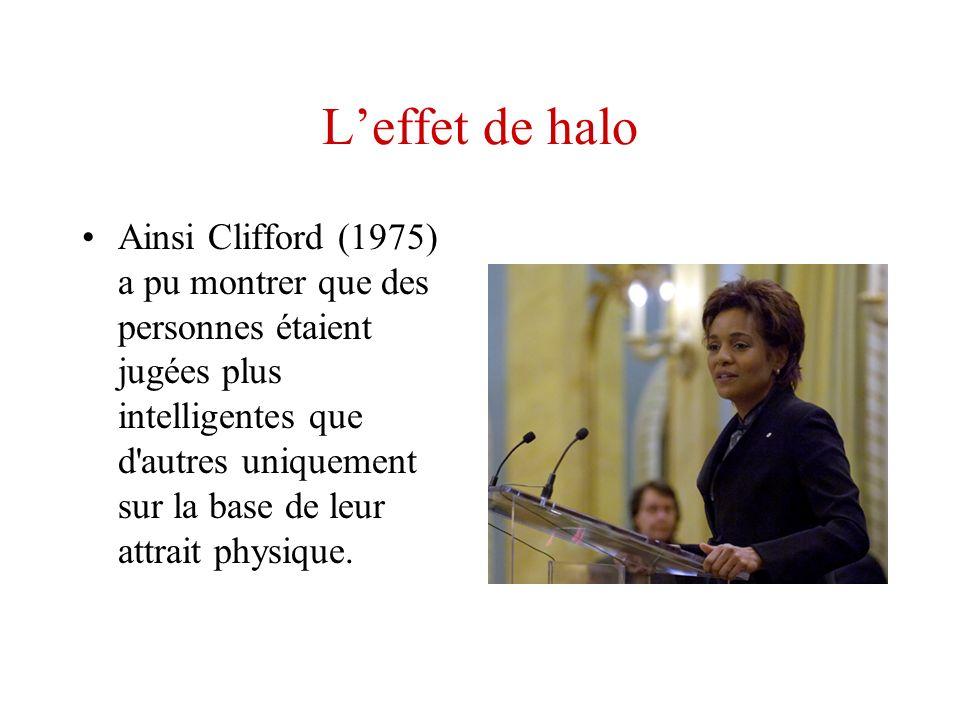 Leffet de halo Ainsi Clifford (1975) a pu montrer que des personnes étaient jugées plus intelligentes que d'autres uniquement sur la base de leur attr