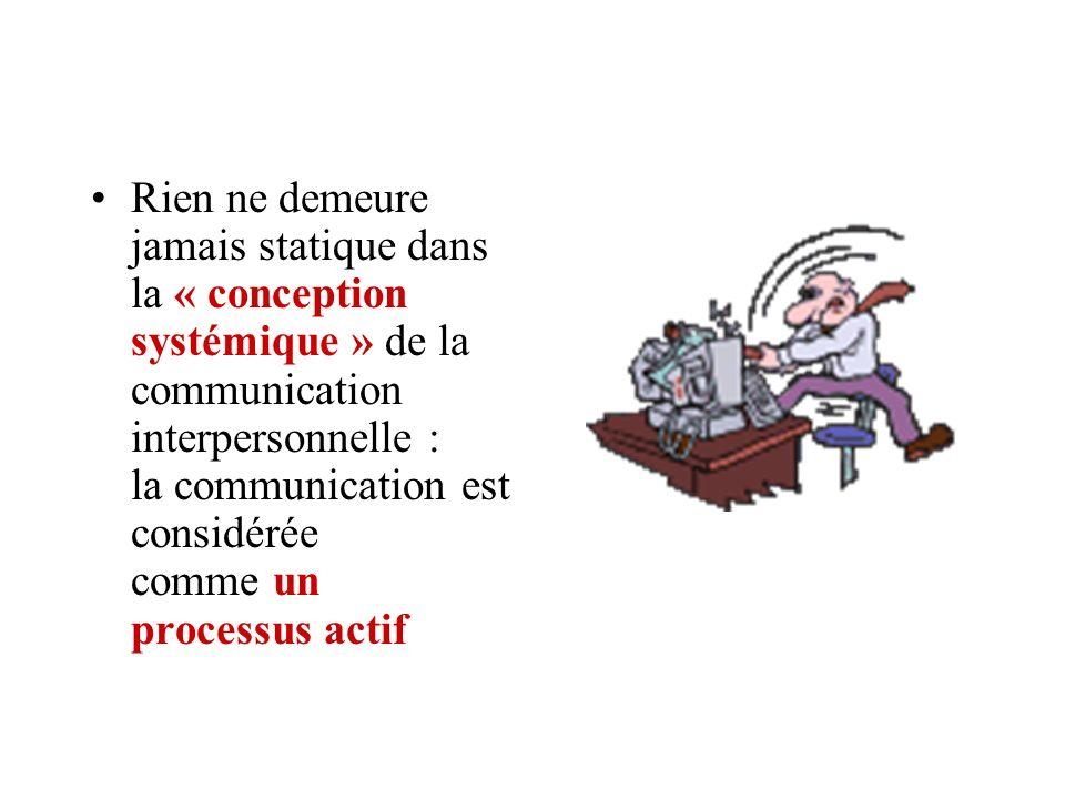 Rien ne demeure jamais statique dans la « conception systémique » de la communication interpersonnelle : la communication est considérée comme un proc