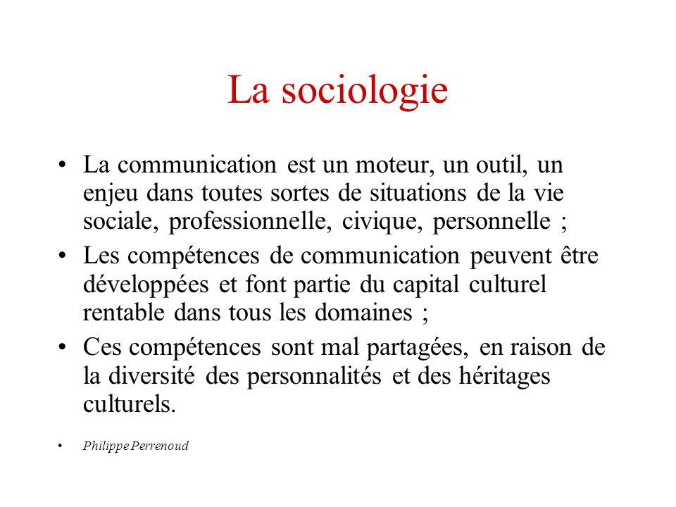 La sociologie La communication est un moteur, un outil, un enjeu dans toutes sortes de situations de la vie sociale, professionnelle, civique, personn
