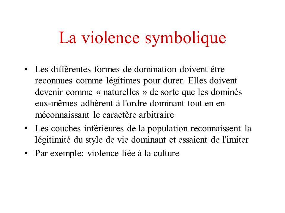 La violence symbolique Les différentes formes de domination doivent être reconnues comme légitimes pour durer. Elles doivent devenir comme « naturelle