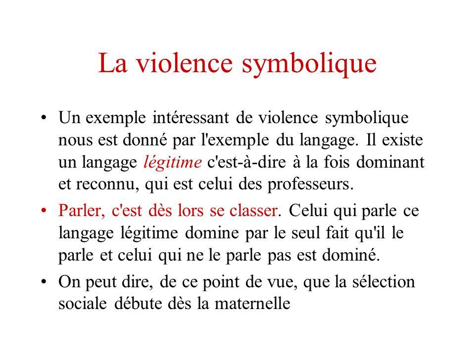 La violence symbolique Un exemple intéressant de violence symbolique nous est donné par l'exemple du langage. Il existe un langage légitime c'est-à-di