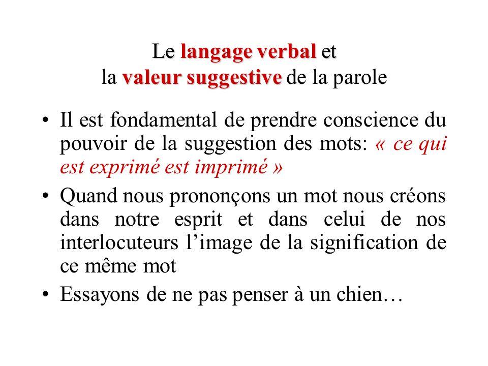 Le langage verbal et valeur suggestive Le langage verbal et la valeur suggestive de la parole Il est fondamental de prendre conscience du pouvoir de l