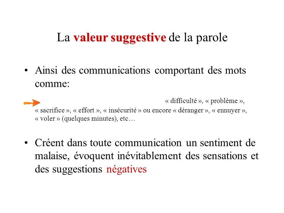 valeur suggestive La valeur suggestive de la parole Ainsi des communications comportant des mots comme: « difficulté », « problème », « sacrifice », «