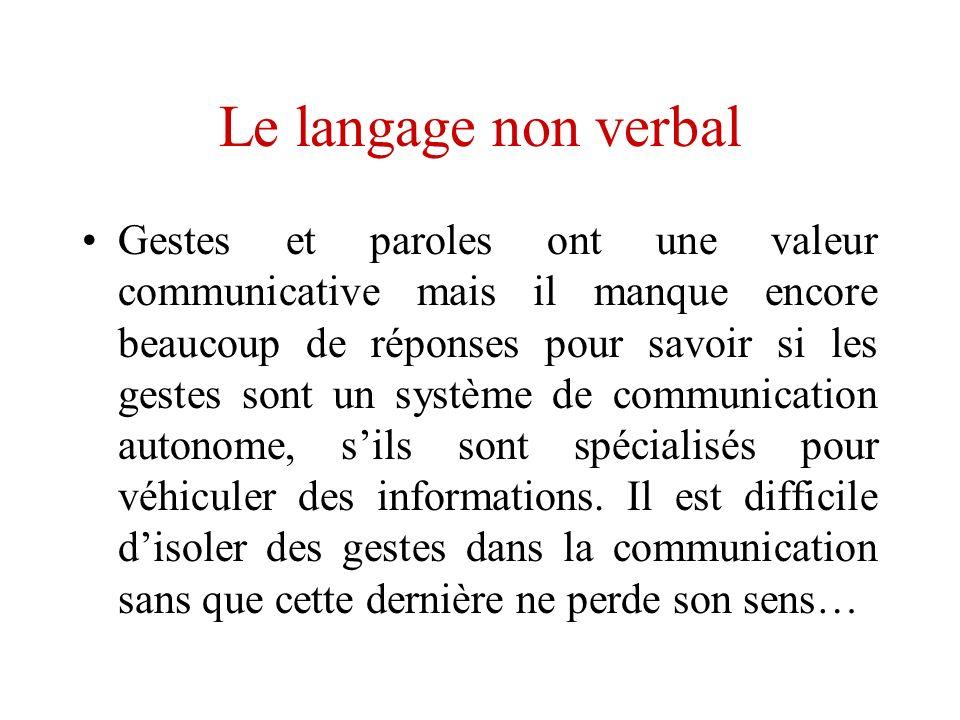 Le langage non verbal Gestes et paroles ont une valeur communicative mais il manque encore beaucoup de réponses pour savoir si les gestes sont un syst