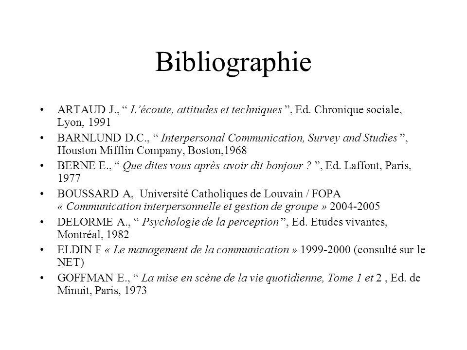 Bibliographie ARTAUD J., Lécoute, attitudes et techniques, Ed. Chronique sociale, Lyon, 1991 BARNLUND D.C., Interpersonal Communication, Survey and St