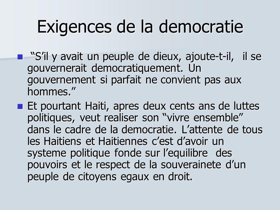 Exigences de la democratie Sil y avait un peuple de dieux, ajoute-t-il, il se gouvernerait democratiquement. Un gouvernement si parfait ne convient pa