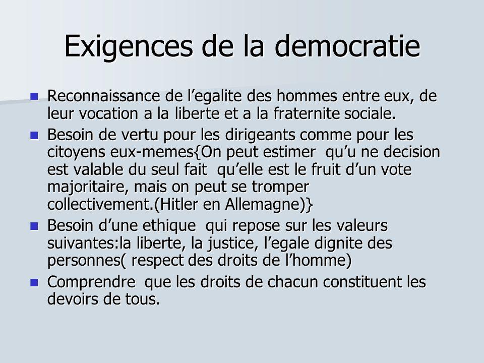 Exigences de la democratie Reconnaissance de legalite des hommes entre eux, de leur vocation a la liberte et a la fraternite sociale. Reconnaissance d