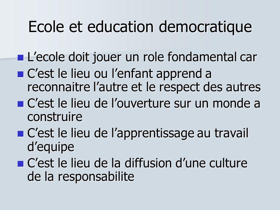 Ecole et education democratique Lecole doit jouer un role fondamental car Lecole doit jouer un role fondamental car Cest le lieu ou lenfant apprend a