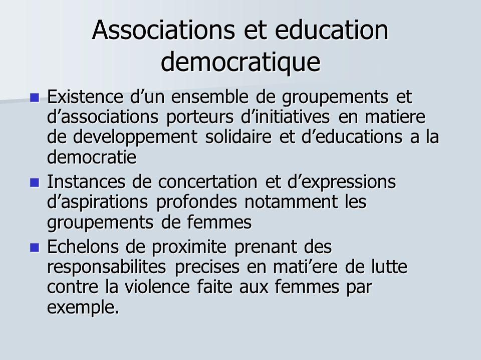 Associations et education democratique Existence dun ensemble de groupements et dassociations porteurs dinitiatives en matiere de developpement solida