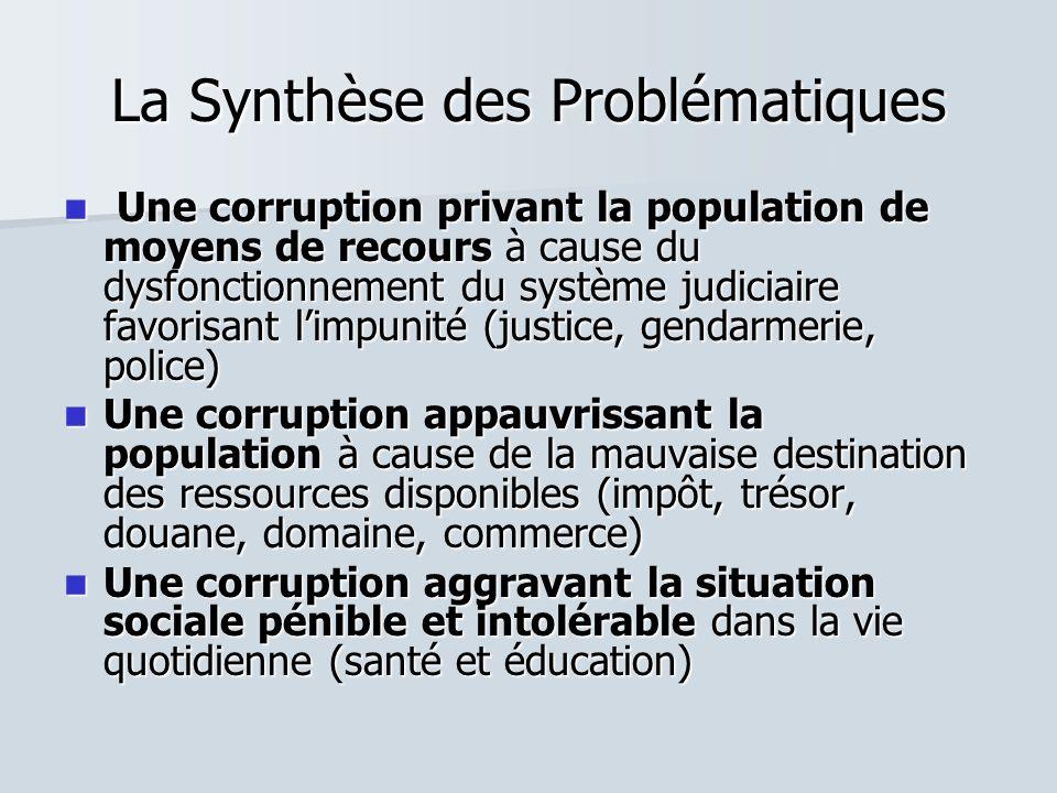 La Synthèse des Problématiques Une corruption privant la population de moyens de recours à cause du dysfonctionnement du système judiciaire favorisant