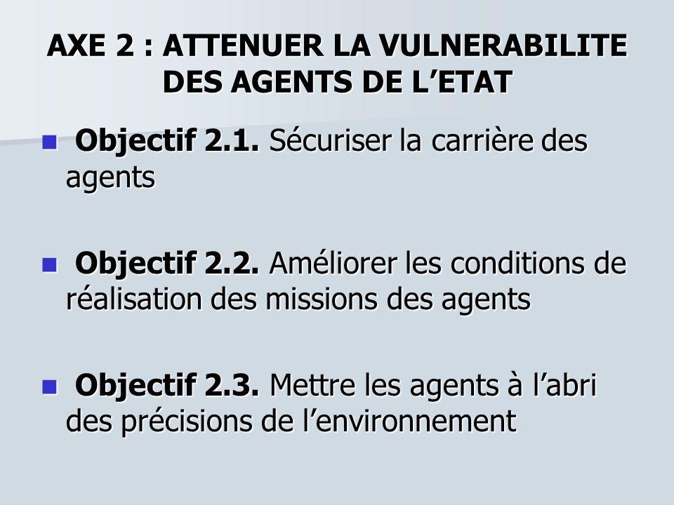 AXE 2 : ATTENUER LA VULNERABILITE DES AGENTS DE LETAT Objectif 2.1. Sécuriser la carrière des agents Objectif 2.1. Sécuriser la carrière des agents Ob