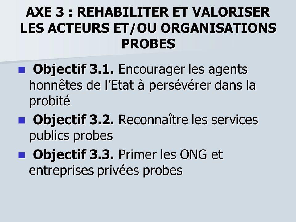AXE 3 : REHABILITER ET VALORISER LES ACTEURS ET/OU ORGANISATIONS PROBES Objectif 3.1. Encourager les agents honnêtes de lEtat à persévérer dans la pro
