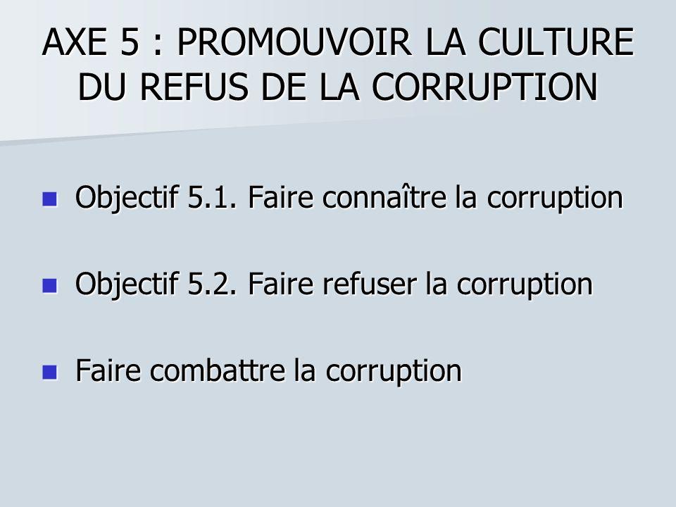 AXE 5 : PROMOUVOIR LA CULTURE DU REFUS DE LA CORRUPTION Objectif 5.1. Faire connaître la corruption Objectif 5.1. Faire connaître la corruption Object