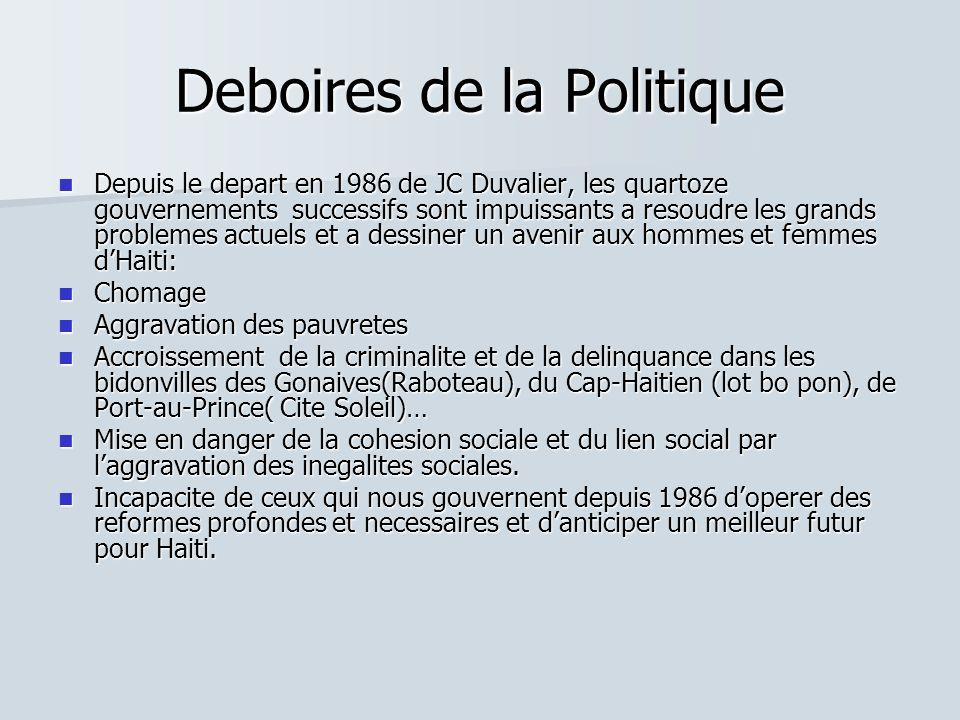 Deboires de la Politique Depuis le depart en 1986 de JC Duvalier, les quartoze gouvernements successifs sont impuissants a resoudre les grands problem