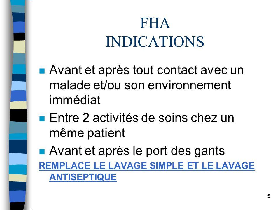 5 FHA INDICATIONS n Avant et après tout contact avec un malade et/ou son environnement immédiat n Entre 2 activités de soins chez un même patient n Av