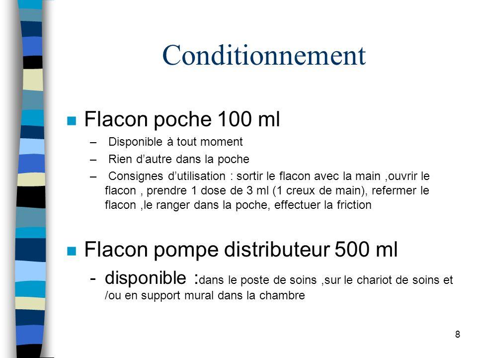 8 Conditionnement n Flacon poche 100 ml – Disponible à tout moment – Rien dautre dans la poche – Consignes dutilisation : sortir le flacon avec la mai