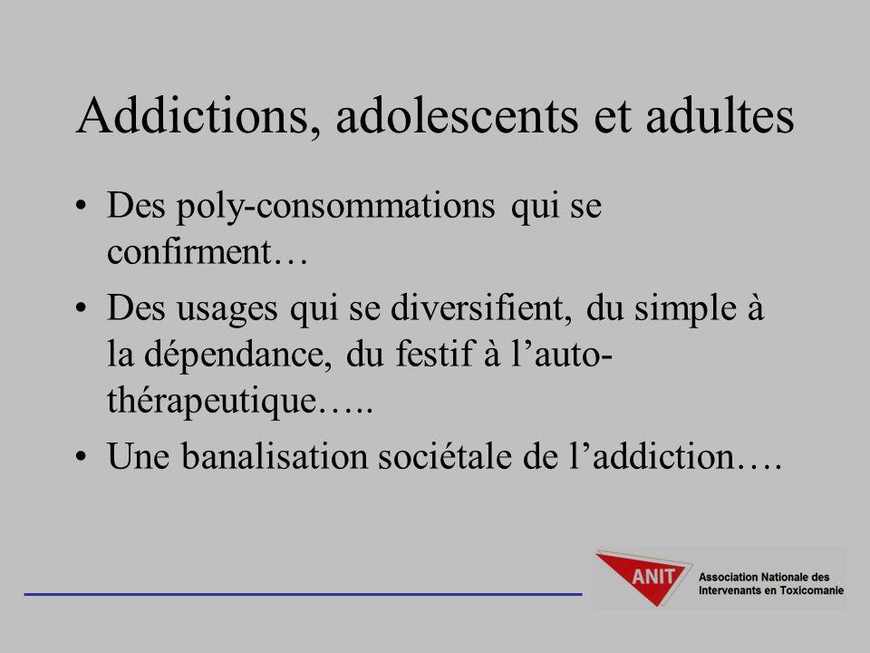 Addictions, adolescents et adultes Des poly-consommations qui se confirment… Des usages qui se diversifient, du simple à la dépendance, du festif à la