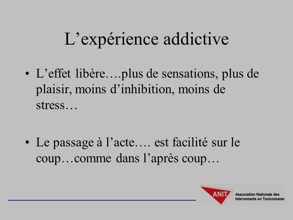 Lexpérience addictive Leffet libère….plus de sensations, plus de plaisir, moins dinhibition, moins de stress… Le passage à lacte….