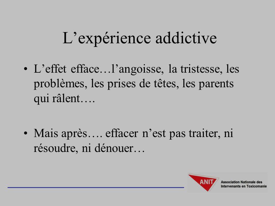 Lexpérience addictive Leffet efface…langoisse, la tristesse, les problèmes, les prises de têtes, les parents qui râlent…. Mais après…. effacer nest pa