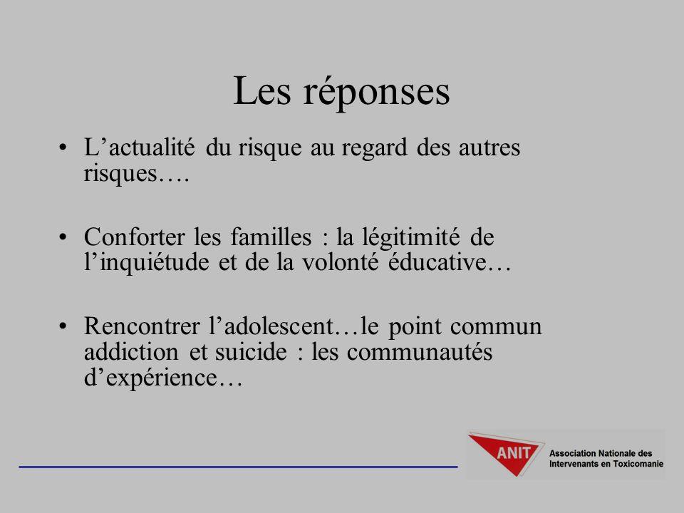 Les réponses Lactualité du risque au regard des autres risques…. Conforter les familles : la légitimité de linquiétude et de la volonté éducative… Ren