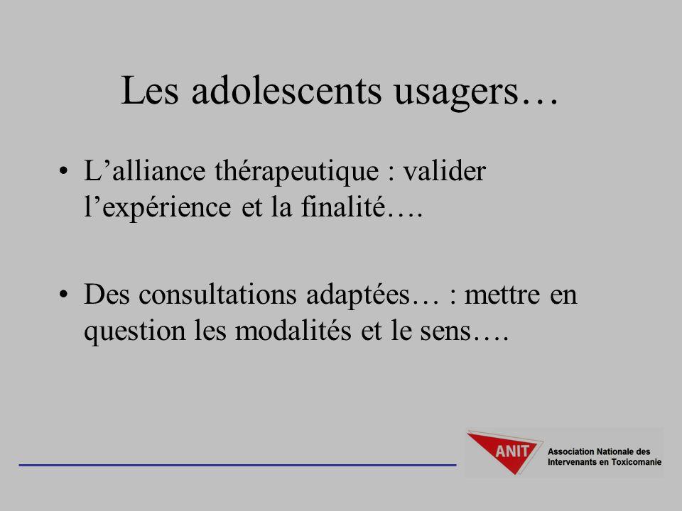 Les adolescents usagers… Lalliance thérapeutique : valider lexpérience et la finalité…. Des consultations adaptées… : mettre en question les modalités