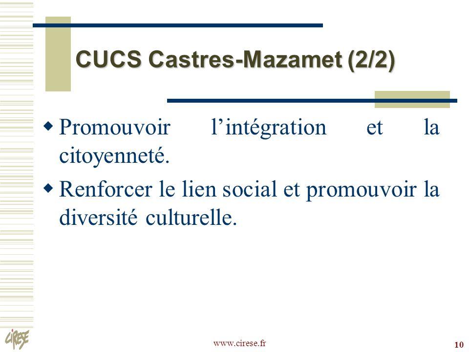 www.cirese.fr 10 CUCS Castres-Mazamet (2/2) Promouvoir lintégration et la citoyenneté. Renforcer le lien social et promouvoir la diversité culturelle.