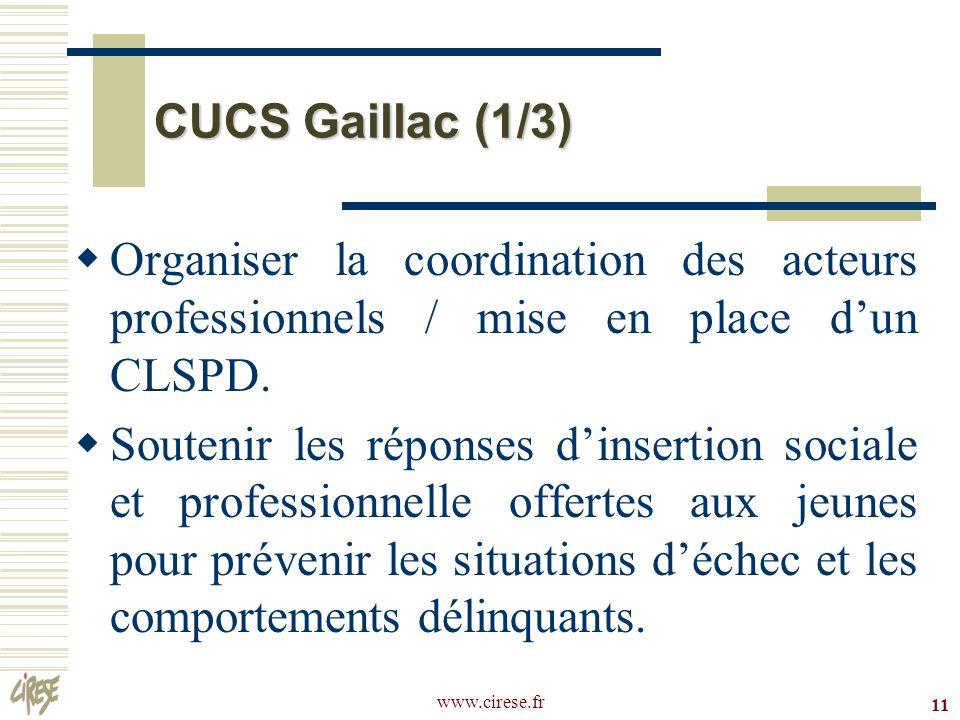 www.cirese.fr 11 CUCS Gaillac (1/3) Organiser la coordination des acteurs professionnels / mise en place dun CLSPD. Soutenir les réponses dinsertion s