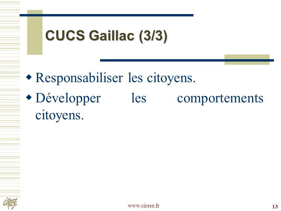 www.cirese.fr 13 CUCS Gaillac (3/3) Responsabiliser les citoyens. Développer les comportements citoyens.