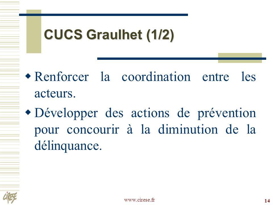 www.cirese.fr 14 CUCS Graulhet (1/2) Renforcer la coordination entre les acteurs. Développer des actions de prévention pour concourir à la diminution