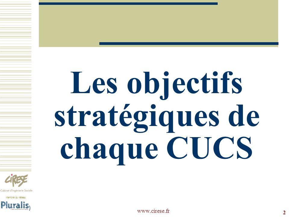 Membre du réseau www.cirese.fr Les objectifs stratégiques de chaque CUCS 2