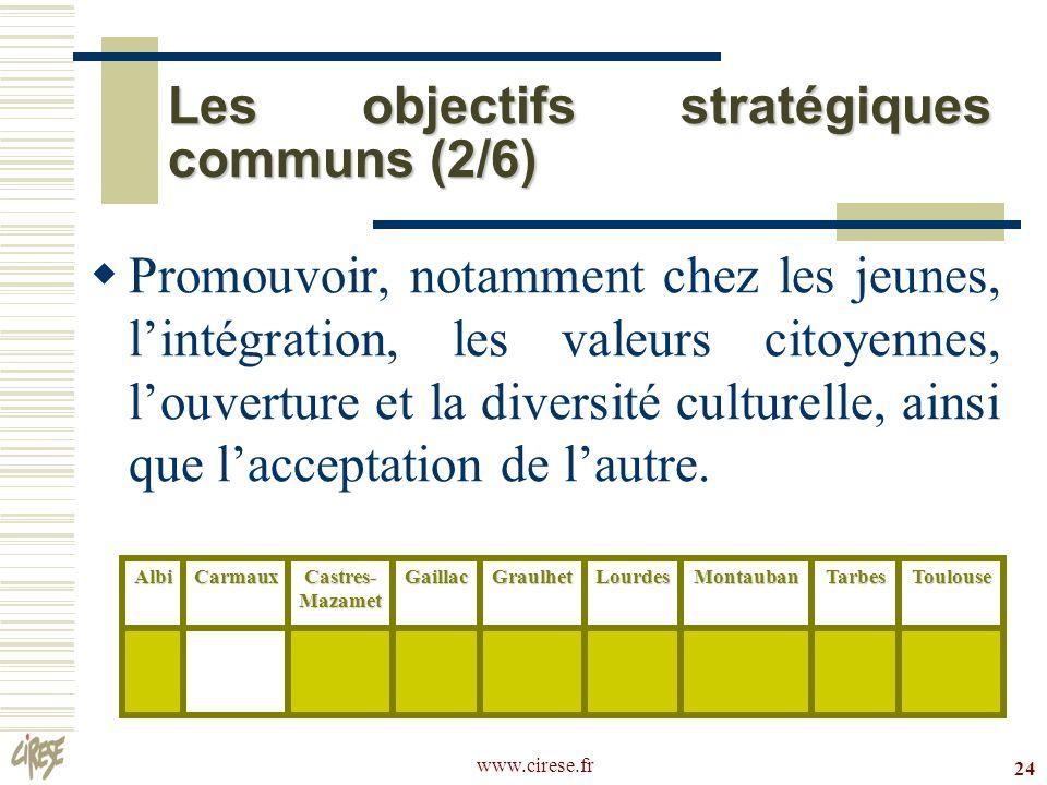 www.cirese.fr 24 Les objectifs stratégiques communs (2/6) Promouvoir, notamment chez les jeunes, lintégration, les valeurs citoyennes, louverture et l