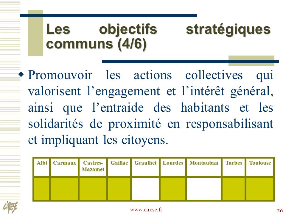 www.cirese.fr 26 Les objectifs stratégiques communs (4/6) Promouvoir les actions collectives qui valorisent lengagement et lintérêt général, ainsi que