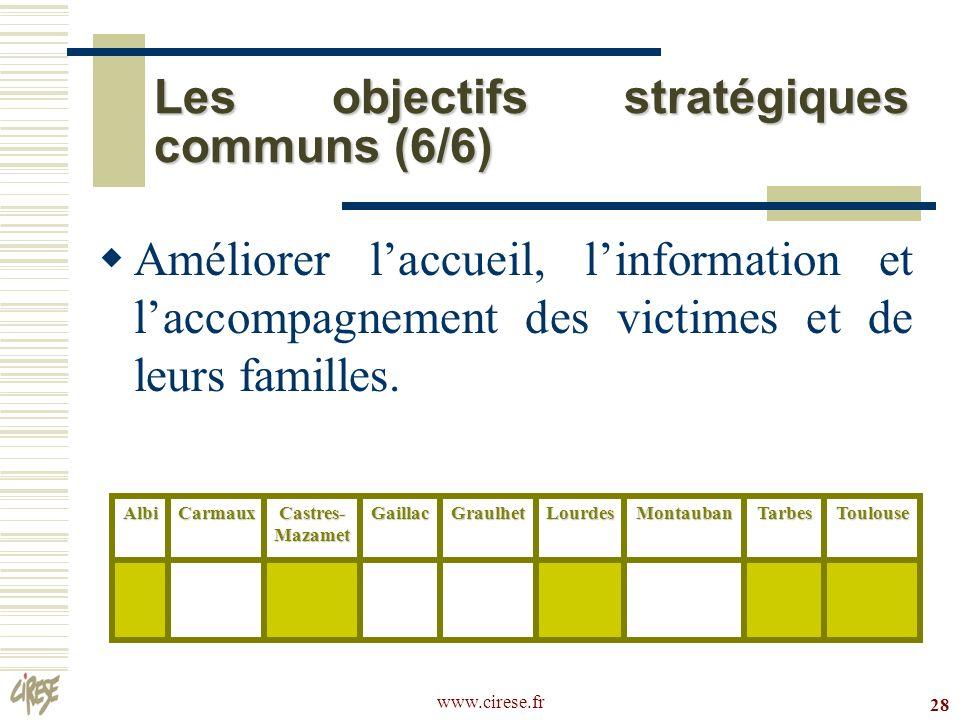 www.cirese.fr 28 Les objectifs stratégiques communs (6/6) Améliorer laccueil, linformation et laccompagnement des victimes et de leurs familles.AlbiCa