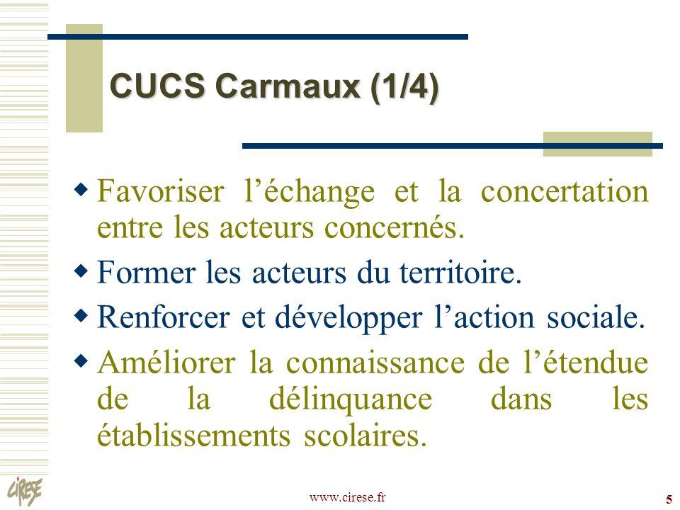 www.cirese.fr 5 CUCS Carmaux (1/4) Favoriser léchange et la concertation entre les acteurs concernés. Former les acteurs du territoire. Renforcer et d