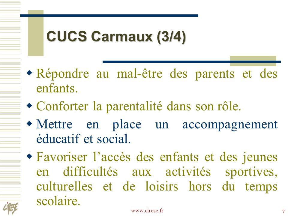www.cirese.fr 7 CUCS Carmaux (3/4) Répondre au mal-être des parents et des enfants. Conforter la parentalité dans son rôle. Mettre en place un accompa