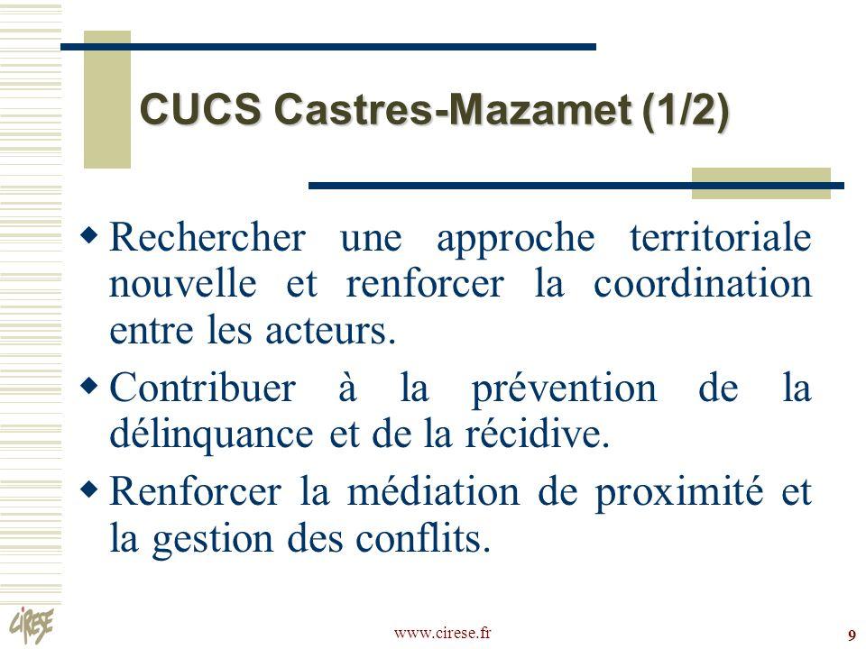 www.cirese.fr 9 CUCS Castres-Mazamet (1/2) Rechercher une approche territoriale nouvelle et renforcer la coordination entre les acteurs. Contribuer à