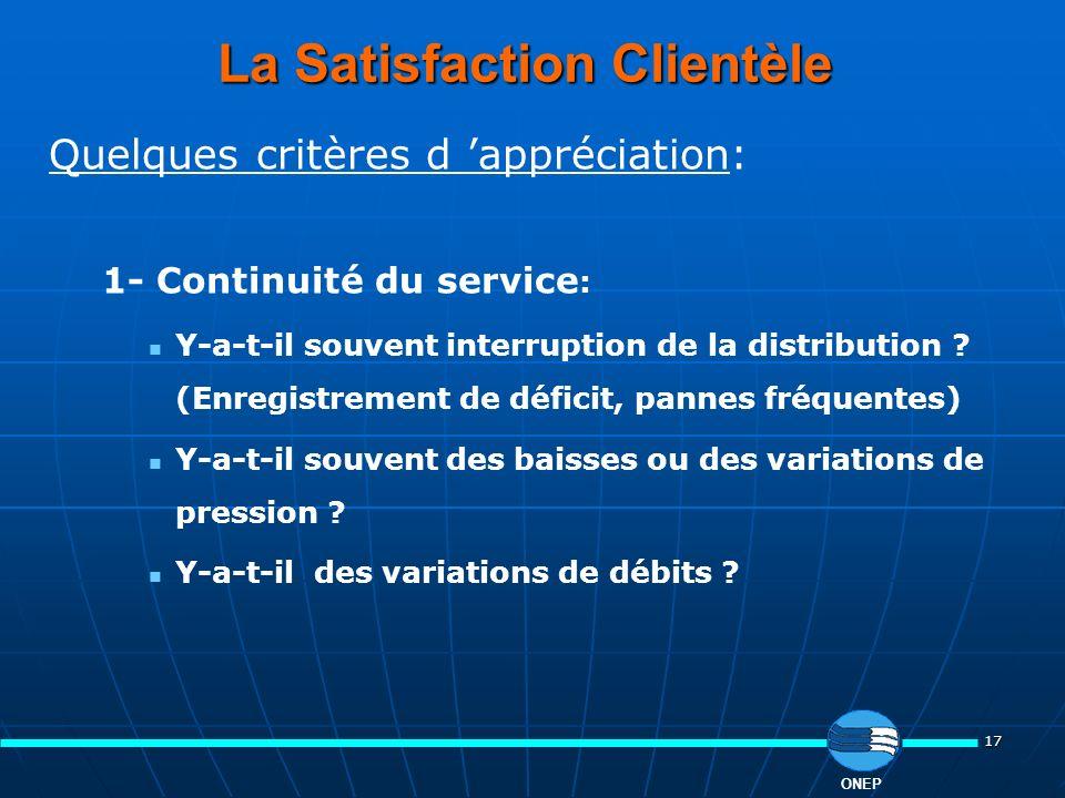 17 ONEP La Satisfaction Clientèle Quelques critères d appréciation: 1- Continuité du service : Y-a-t-il souvent interruption de la distribution ? (Enr