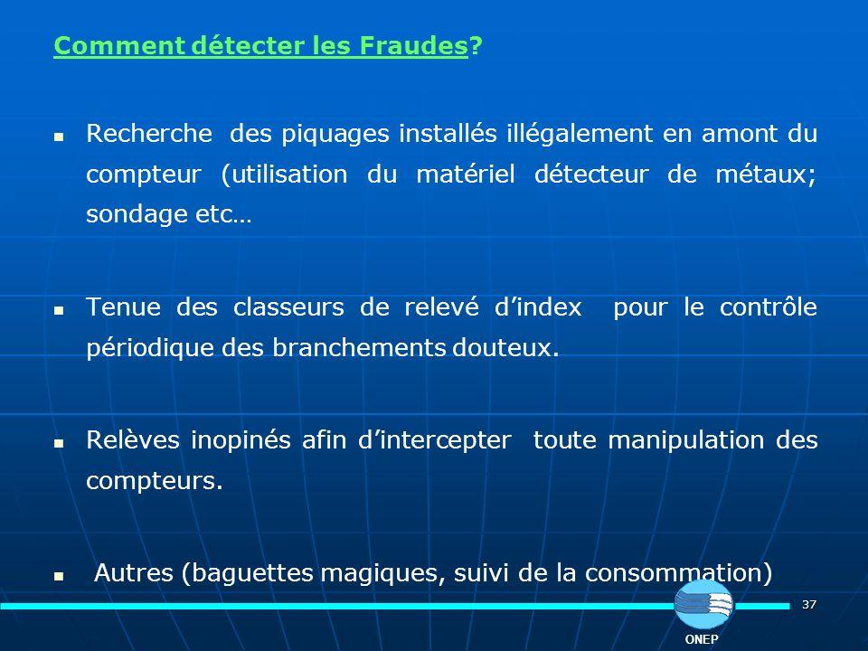 37 Comment détecter les Fraudes? Recherche des piquages installés illégalement en amont du compteur (utilisation du matériel détecteur de métaux; sond
