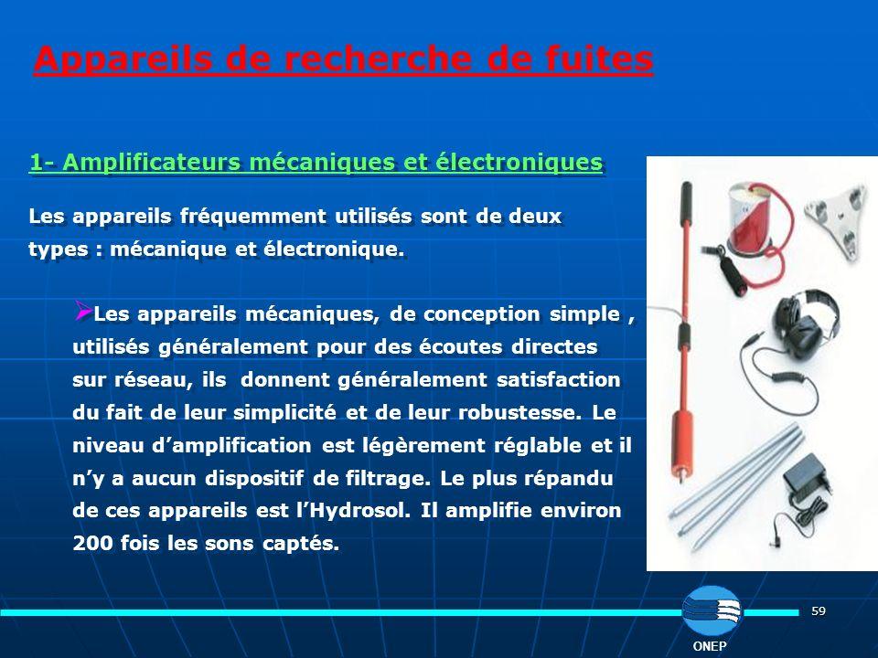 59 Appareils de recherche de fuites ONEP 1- Amplificateurs mécaniques et électroniques Les appareils fréquemment utilisés sont de deux types : mécaniq